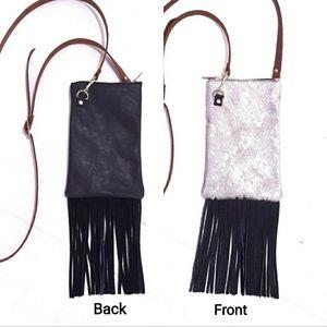 Silver Black Cowhide Leather Fringe Crossbody Bag